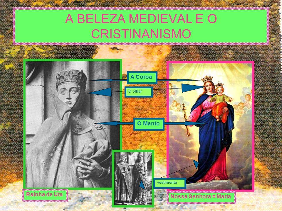 A BELEZA MEDIEVAL E O CRISTINANISMO Nossa Senhora = Maria Rainha de Uta A Coroa O Manto O olhar vestimenta