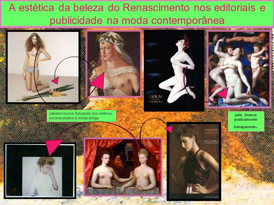 A estética da beleza do Renascimento nos editoriais e publicidade na moda contemporânea cabelos louros flutuando nos ombros, encaracolados à moda anti