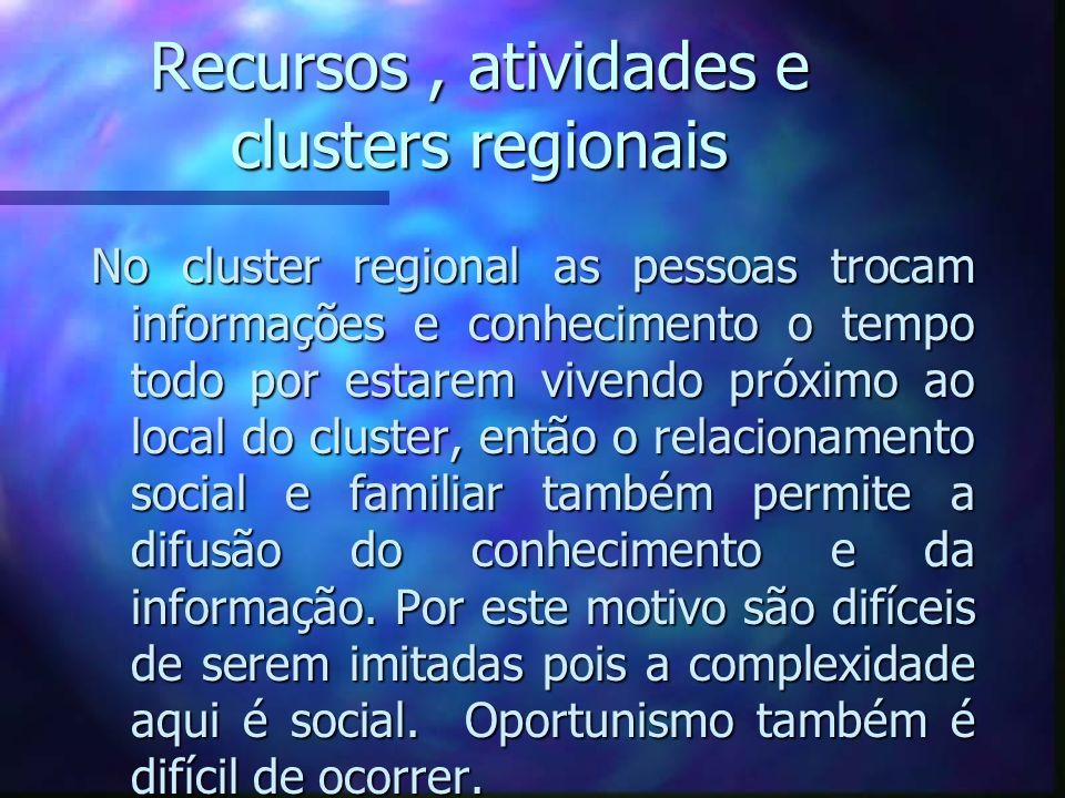 Recursos, atividades e clusters regionais No cluster regional as pessoas trocam informações e conhecimento o tempo todo por estarem vivendo próximo ao