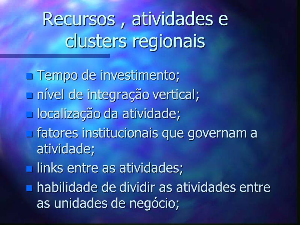 Recursos, atividades e clusters regionais n Tempo de investimento; n nível de integração vertical; n localização da atividade; n fatores institucionai