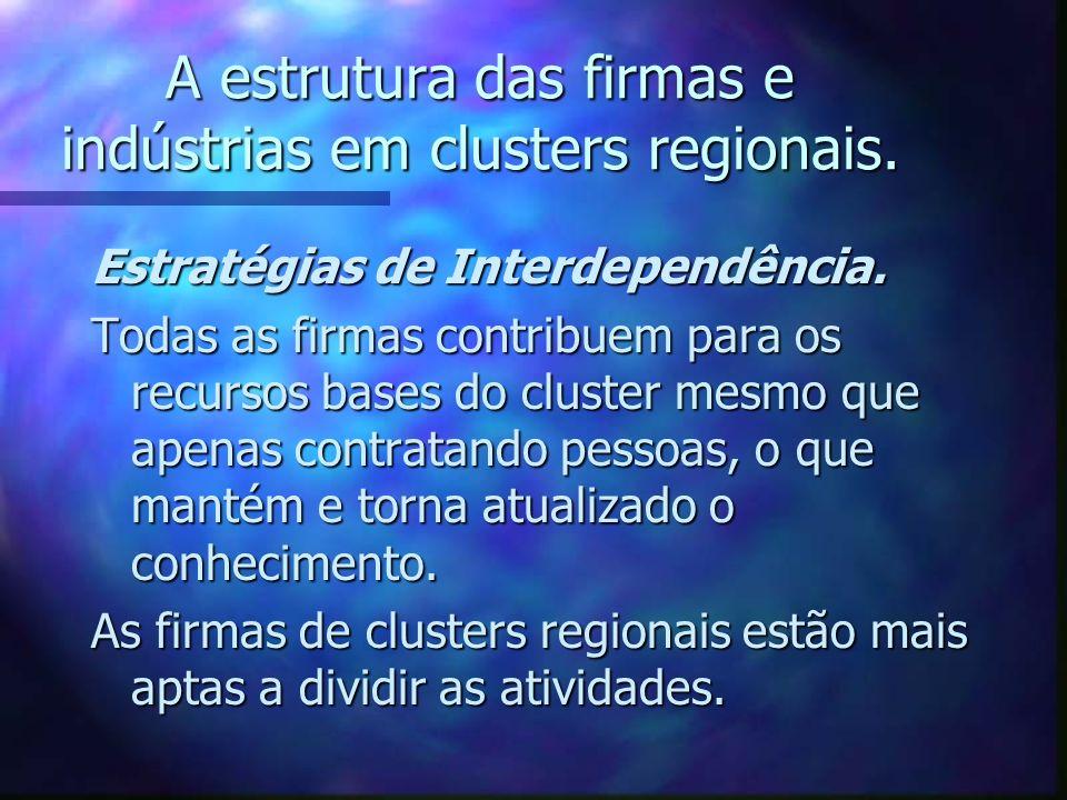 A estrutura das firmas e indústrias em clusters regionais. Estratégias de Interdependência. Todas as firmas contribuem para os recursos bases do clust