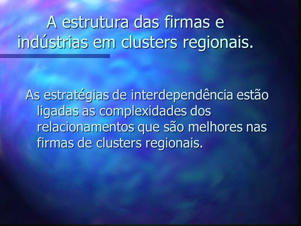 A estrutura das firmas e indústrias em clusters regionais. As estratégias de interdependência estão ligadas as complexidades dos relacionamentos que s