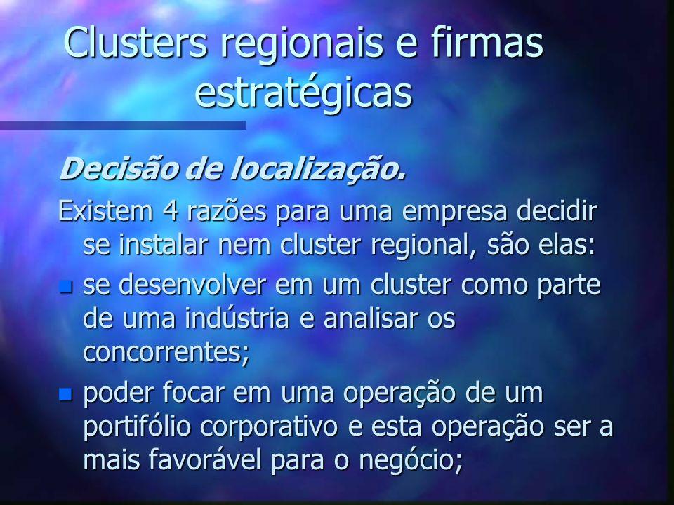 Clusters regionais e firmas estratégicas Decisão de localização. Existem 4 razões para uma empresa decidir se instalar nem cluster regional, são elas: