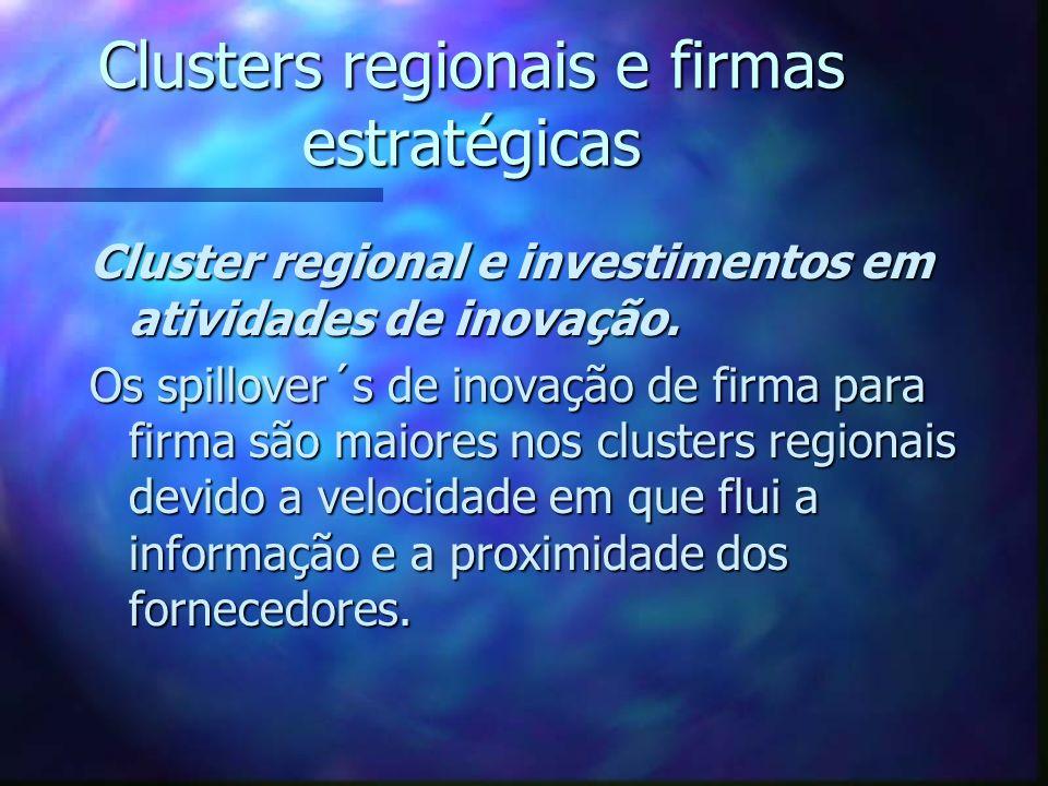 Clusters regionais e firmas estratégicas Cluster regional e investimentos em atividades de inovação. Os spillover´s de inovação de firma para firma sã