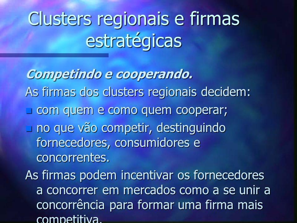Clusters regionais e firmas estratégicas Competindo e cooperando. As firmas dos clusters regionais decidem: n com quem e como quem cooperar; n no que