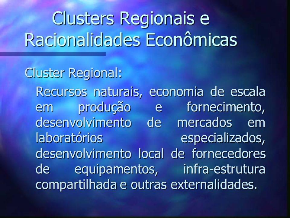 Clusters Regionais e Racionalidades Econômicas Cluster Regional: Recursos naturais, economia de escala em produção e fornecimento, desenvolvimento de