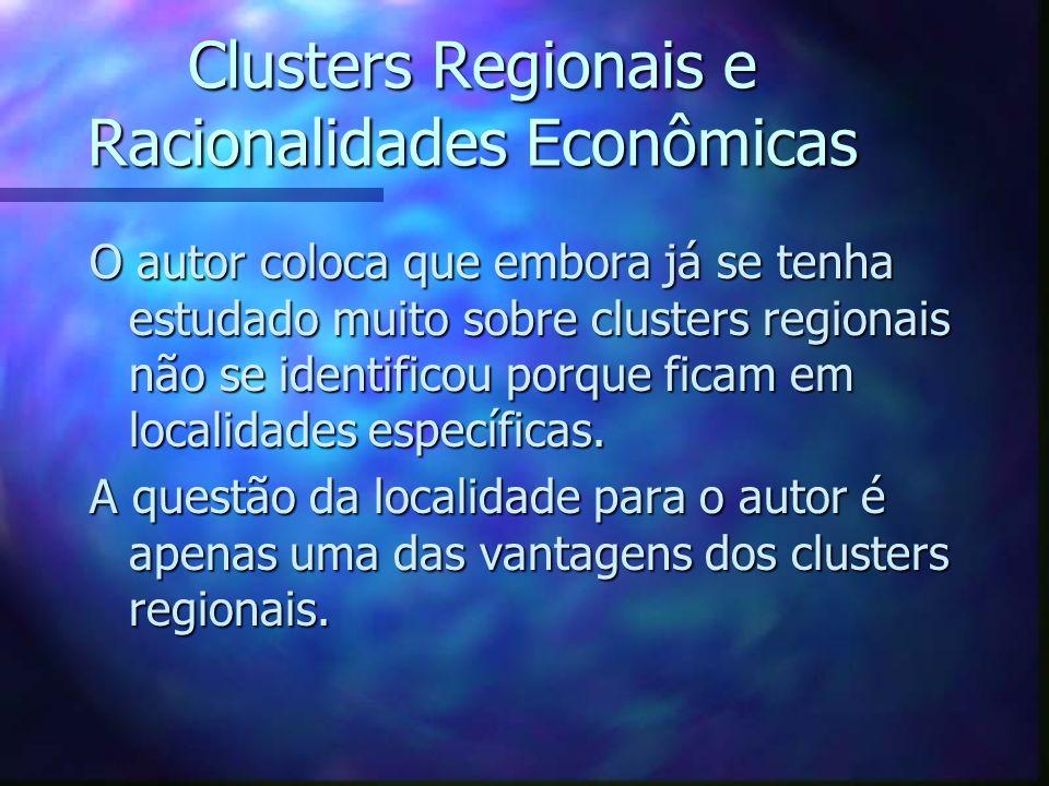 Clusters Regionais e a inovação O crescimento e a persistência dos clusters regionais são o resultado de desenvolvimento de: n pressões; n incentivos; n capacidade de inovar provido pelo próprio local.