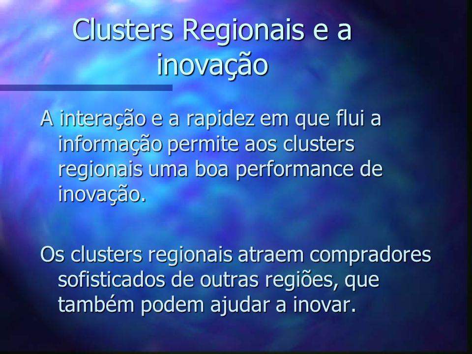 Clusters Regionais e a inovação A interação e a rapidez em que flui a informação permite aos clusters regionais uma boa performance de inovação. Os cl