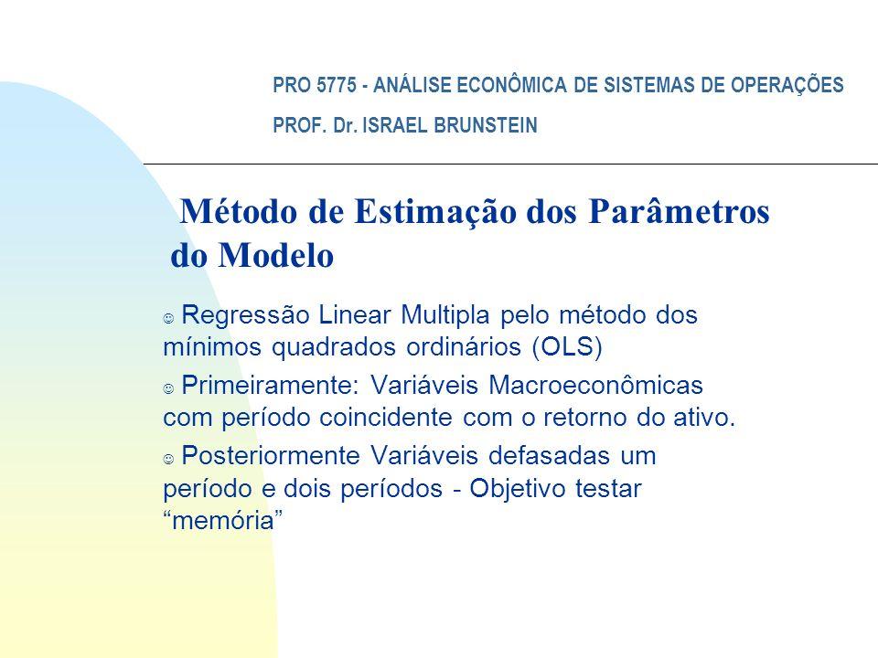 PRO 5775 - ANÁLISE ECONÔMICA DE SISTEMAS DE OPERAÇÕES PROF. Dr. ISRAEL BRUNSTEIN J Regressão Linear Multipla pelo método dos mínimos quadrados ordinár