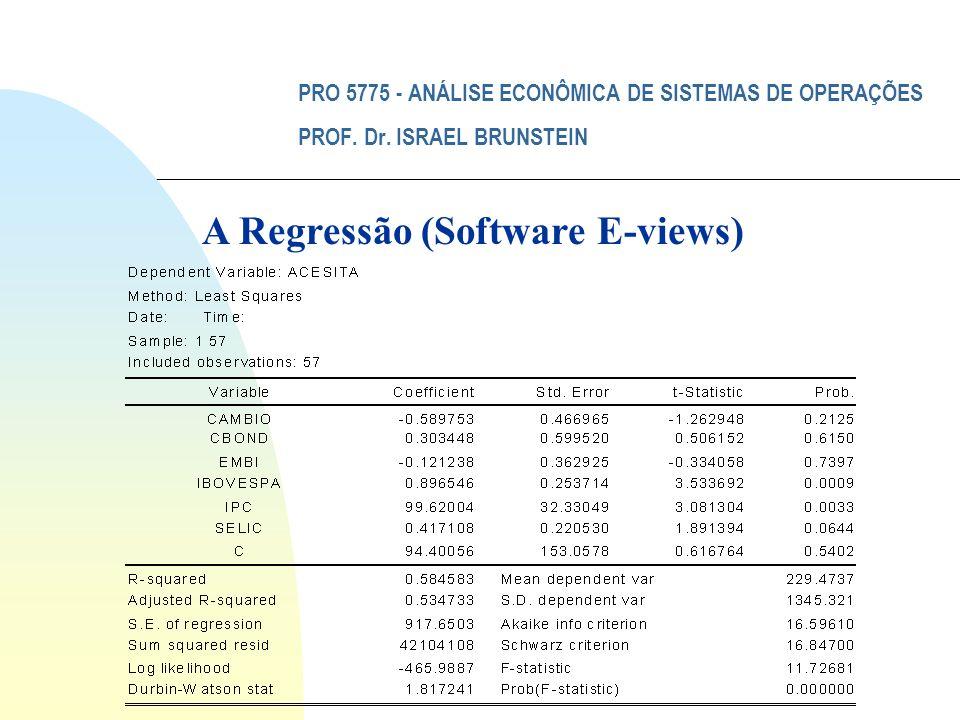 PRO 5775 - ANÁLISE ECONÔMICA DE SISTEMAS DE OPERAÇÕES PROF. Dr. ISRAEL BRUNSTEIN A Regressão (Software E-views)