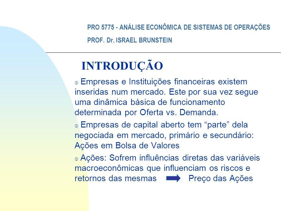 PRO 5775 - ANÁLISE ECONÔMICA DE SISTEMAS DE OPERAÇÕES PROF. Dr. ISRAEL BRUNSTEIN J Empresas e Instituições financeiras existem inseridas num mercado.