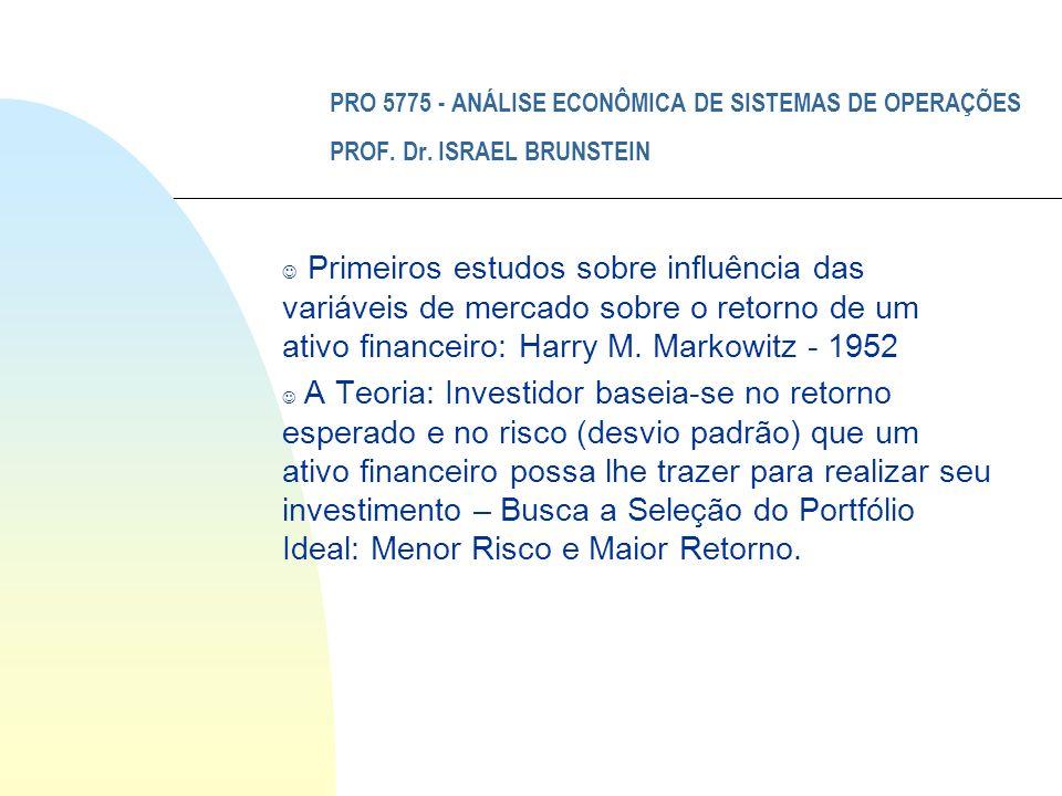 PRO 5775 - ANÁLISE ECONÔMICA DE SISTEMAS DE OPERAÇÕES PROF. Dr. ISRAEL BRUNSTEIN J Primeiros estudos sobre influência das variáveis de mercado sobre o
