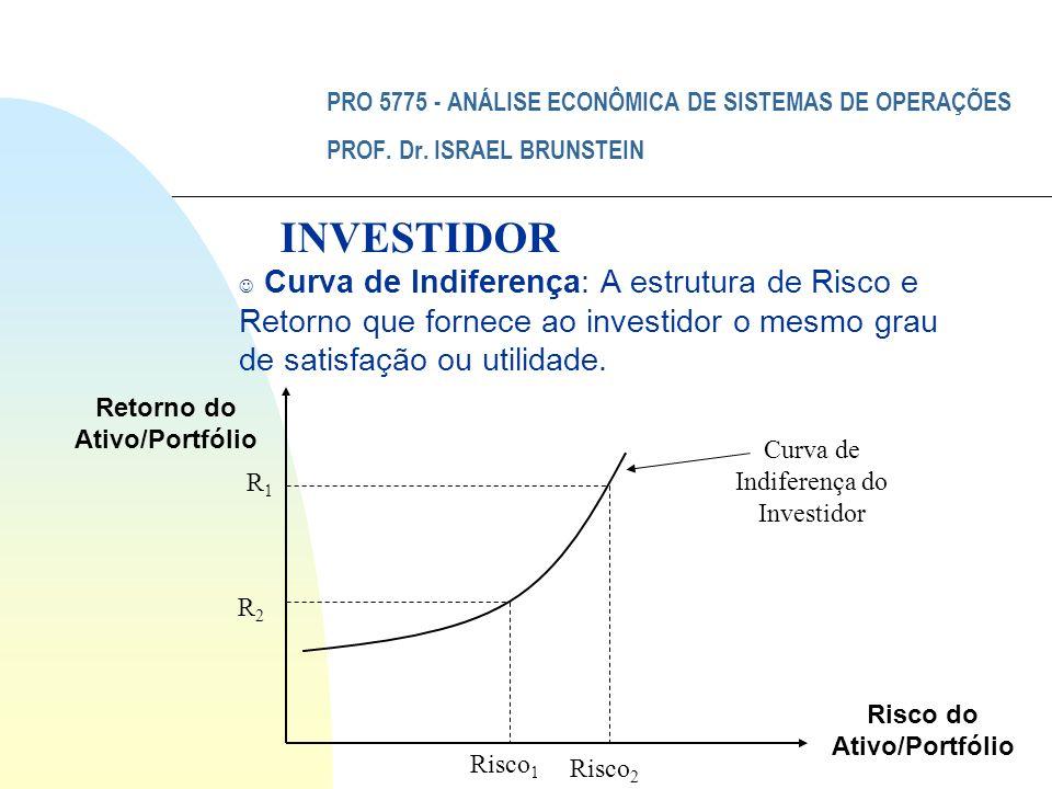 PRO 5775 - ANÁLISE ECONÔMICA DE SISTEMAS DE OPERAÇÕES PROF. Dr. ISRAEL BRUNSTEIN J Curva de Indiferença: A estrutura de Risco e Retorno que fornece ao