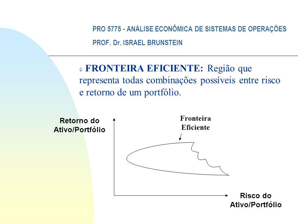 PRO 5775 - ANÁLISE ECONÔMICA DE SISTEMAS DE OPERAÇÕES PROF. Dr. ISRAEL BRUNSTEIN Fronteira Eficiente J FRONTEIRA EFICIENTE: Região que representa toda