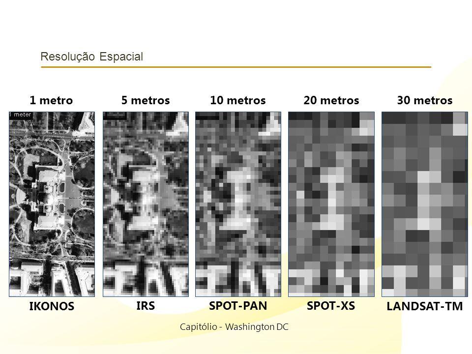 Resolução Espacial Capitólio - Washington DC 1 metro IKONOS 5 metros IRS 10 metros SPOT-PAN 20 metros SPOT-XS 30 metros LANDSAT-TM