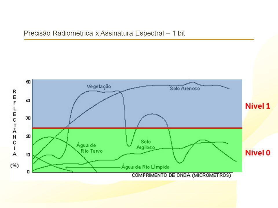 Precisão Radiométrica x Assinatura Espectral – 1 bit Nível 1 Nível 0