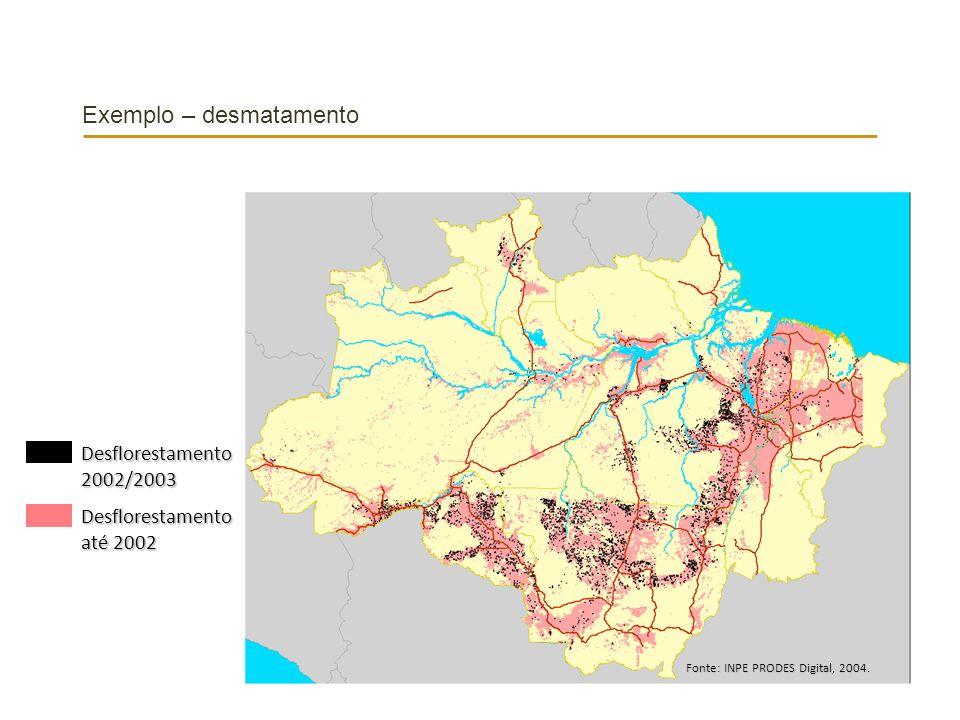 Exemplo – desmatamento Fonte: INPE PRODES Digital, 2004. Desflorestamento2002/2003 Desflorestamento até 2002