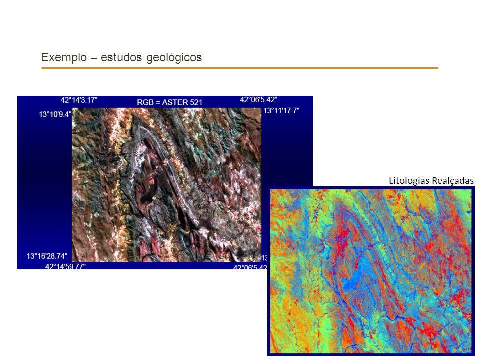 Exemplo – estudos geológicos Litologias Realçadas