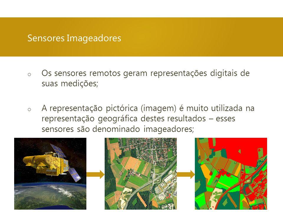 o Os sensores remotos geram representações digitais de suas medições; o A representação pictórica (imagem) é muito utilizada na representação geográfica destes resultados – esses sensores são denominado imageadores; Sensores Imageadores
