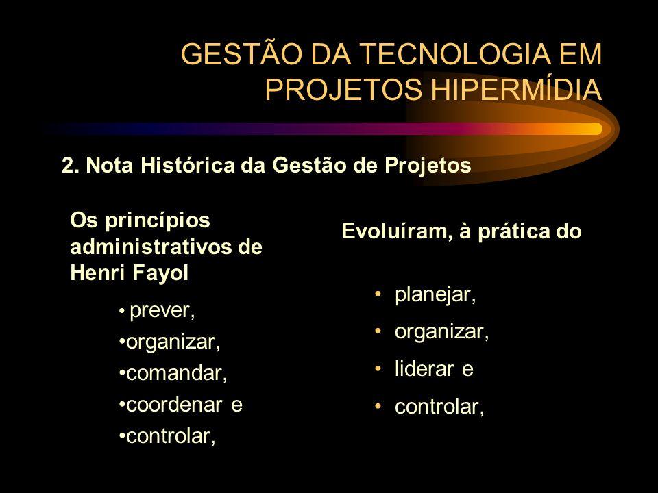 GESTÃO DA TECNOLOGIA EM PROJETOS HIPERMÍDIA Os princípios administrativos de Henri Fayol prever, organizar, comandar, coordenar e controlar, Evoluíram