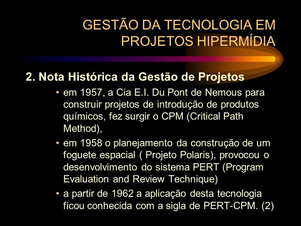 GESTÃO DA TECNOLOGIA EM PROJETOS HIPERMÍDIA 2. Nota Histórica da Gestão de Projetos em 1957, a Cia E.I. Du Pont de Nemous para construir projetos de i