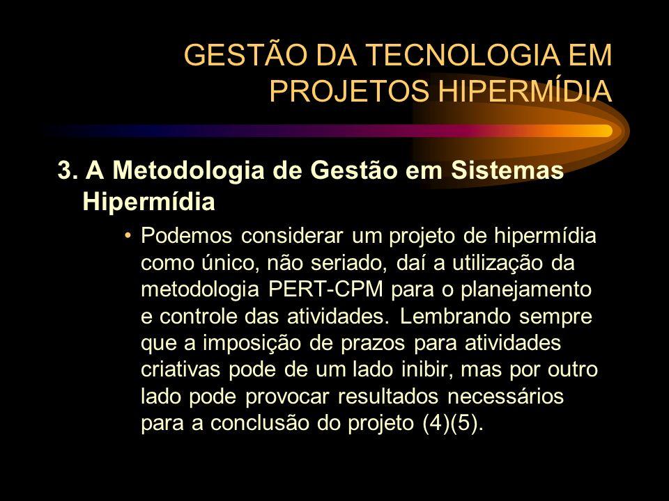 GESTÃO DA TECNOLOGIA EM PROJETOS HIPERMÍDIA 3. A Metodologia de Gestão em Sistemas Hipermídia Podemos considerar um projeto de hipermídia como único,