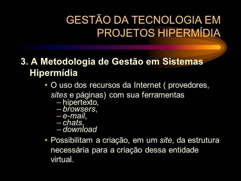 GESTÃO DA TECNOLOGIA EM PROJETOS HIPERMÍDIA 3. A Metodologia de Gestão em Sistemas Hipermídia O uso dos recursos da Internet ( provedores, sites e pág
