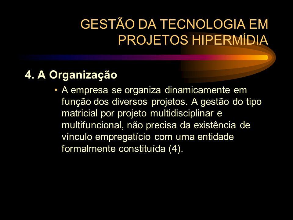 GESTÃO DA TECNOLOGIA EM PROJETOS HIPERMÍDIA 4. A Organização A empresa se organiza dinamicamente em função dos diversos projetos. A gestão do tipo mat