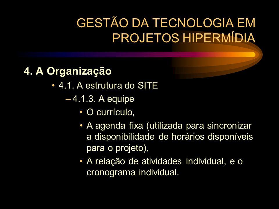 GESTÃO DA TECNOLOGIA EM PROJETOS HIPERMÍDIA 4. A Organização 4.1. A estrutura do SITE –4.1.3. A equipe O currículo, A agenda fixa (utilizada para sinc