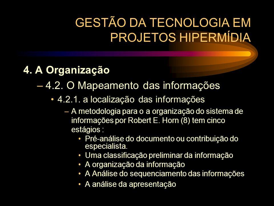 GESTÃO DA TECNOLOGIA EM PROJETOS HIPERMÍDIA 4. A Organização –4.2. O Mapeamento das informações 4.2.1. a localização das informações –A metodologia pa