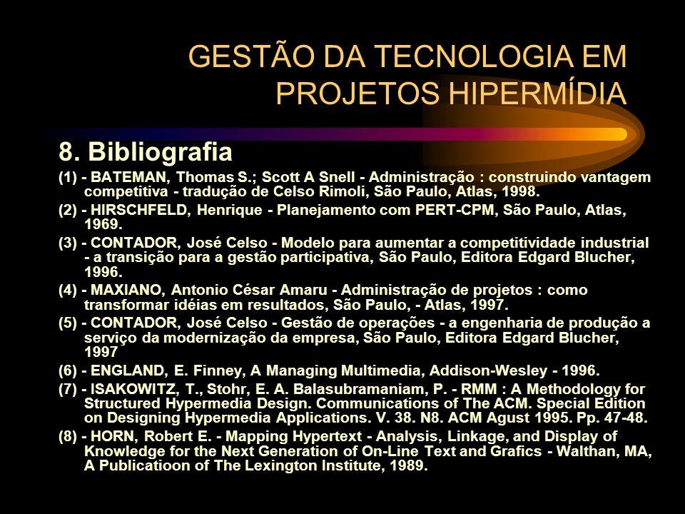 GESTÃO DA TECNOLOGIA EM PROJETOS HIPERMÍDIA 8. Bibliografia (1) - BATEMAN, Thomas S.; Scott A Snell - Administração : construindo vantagem competitiva