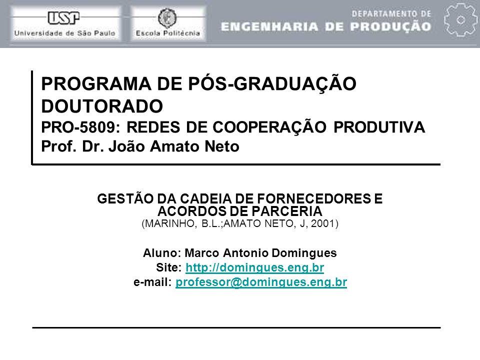 PROGRAMA DE PÓS-GRADUAÇÃO DOUTORADO PRO-5809: REDES DE COOPERAÇÃO PRODUTIVA Prof. Dr. João Amato Neto GESTÃO DA CADEIA DE FORNECEDORES E ACORDOS DE PA