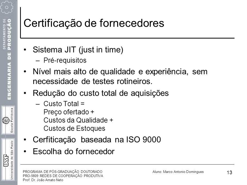 PROGRAMA DE PÓS-GRADUAÇÃO DOUTORADO PRO-5809 REDES DE COOPERAÇÃO PRODUTIVA Prof. Dr. João Amato Neto Aluno: Marco Antonio Domingues 13 Certificação de