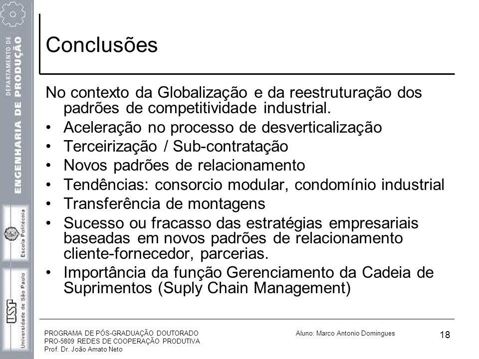 PROGRAMA DE PÓS-GRADUAÇÃO DOUTORADO PRO-5809 REDES DE COOPERAÇÃO PRODUTIVA Prof. Dr. João Amato Neto Aluno: Marco Antonio Domingues 18 Conclusões No c
