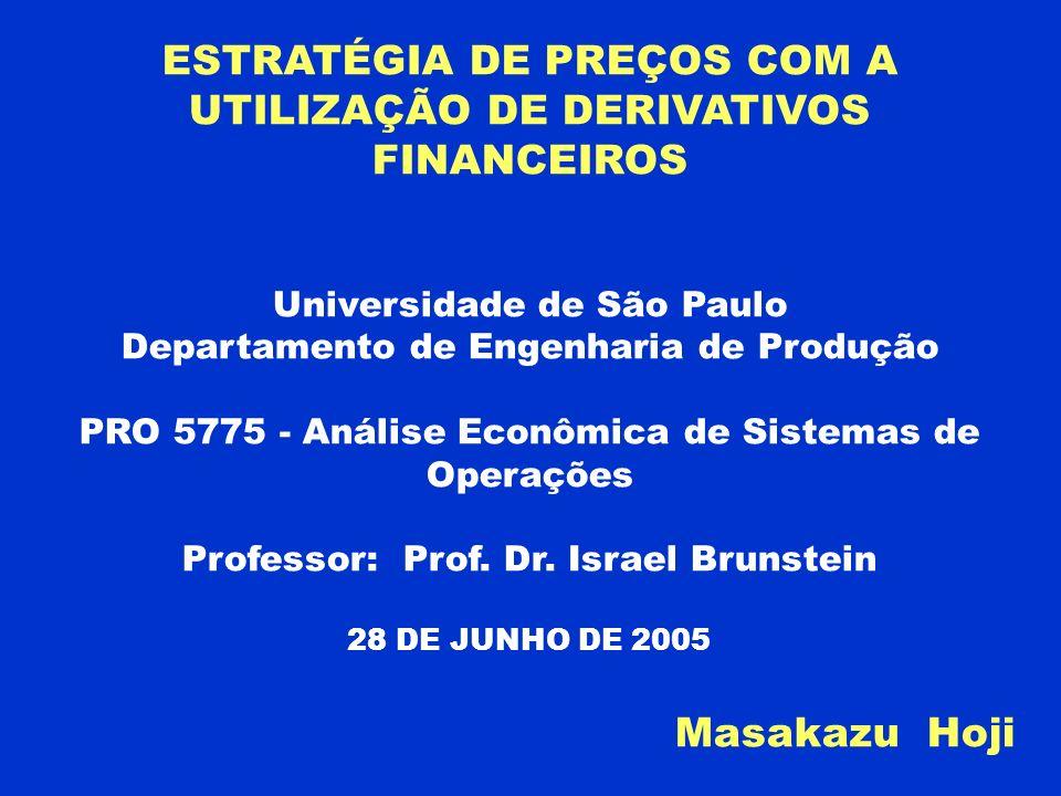ESTRATÉGIA DE PREÇOS COM A UTILIZAÇÃO DE DERIVATIVOS FINANCEIROS Universidade de São Paulo Departamento de Engenharia de Produção PRO 5775 - Análise E