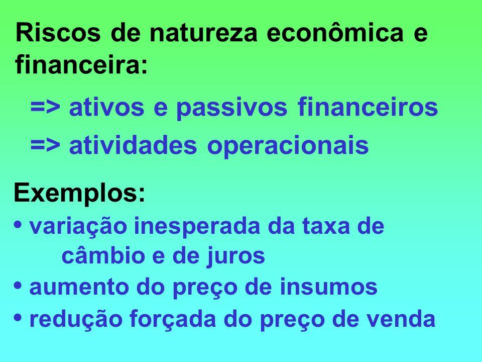 Riscos de natureza econômica e financeira: => ativos e passivos financeiros => atividades operacionais Exemplos: variação inesperada da taxa de câmbio