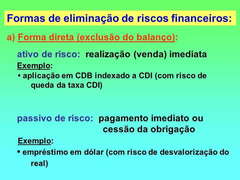 a) Forma direta (exclusão do balanço): ativo de risco: realização (venda) imediata Exemplo: aplicação em CDB indexado a CDI (com risco de queda da tax