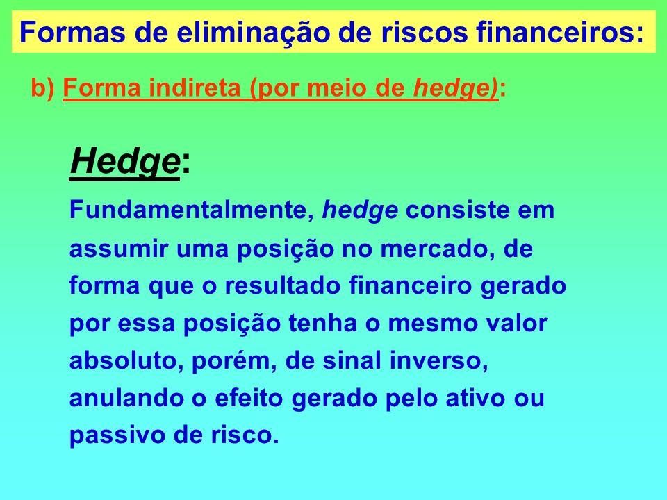 Hedge: Fundamentalmente, hedge consiste em assumir uma posição no mercado, de forma que o resultado financeiro gerado por essa posição tenha o mesmo v