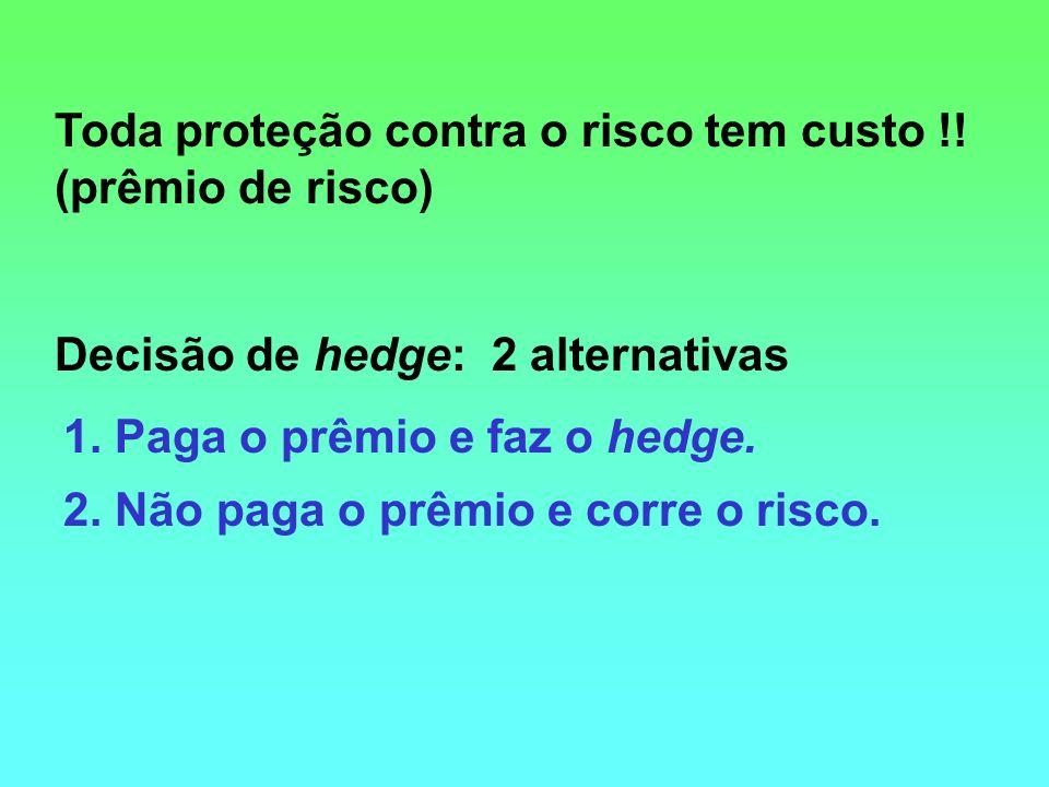 Toda proteção contra o risco tem custo !! (prêmio de risco) Decisão de hedge: 2 alternativas 1. Paga o prêmio e faz o hedge. 2. Não paga o prêmio e co