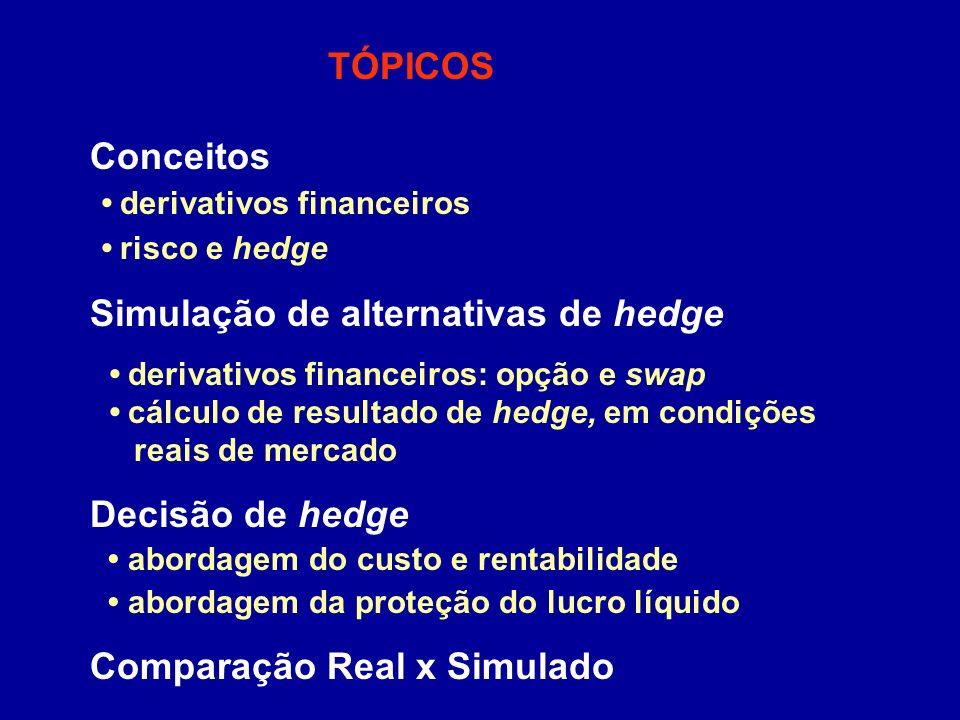CONDIÇÕES REAIS X CONDIÇÕES PROJETADAS (em R$ milhões) Lucro líquido projetado de R$ 10,0 milhões, com a taxa de câmbio de R$ 2,68 CONCLUSÃO: Abordagem do custo e rentabilidade: Critério 1 (menor despesa máxima): opção de compra Critério 2 (maior receita ou menor despesa): sem hedge => opção de compra: possibilidades de ganhos adicionais, limitando a perda Abordagem da proteção do lucro líquido: swap => fixação de resultado (com taxa prefixada) O gestor pode garantir um resultado adequado, com a utilização de hedge por meio de derivativos financeiros.