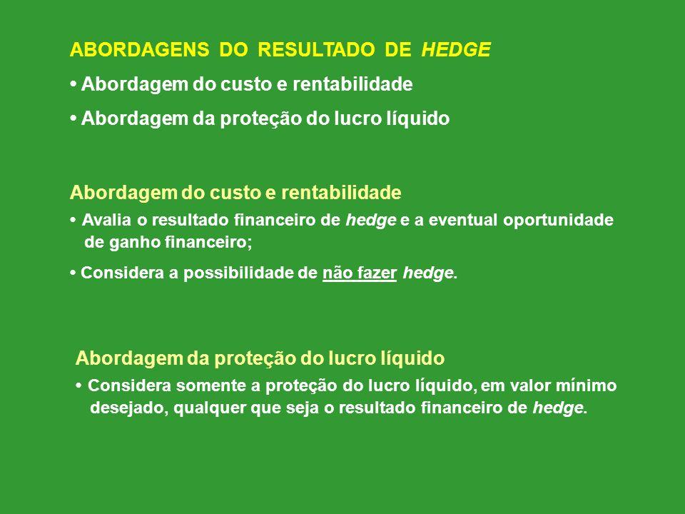 ABORDAGENS DO RESULTADO DE HEDGE Abordagem do custo e rentabilidade Abordagem da proteção do lucro líquido Abordagem do custo e rentabilidade Avalia o