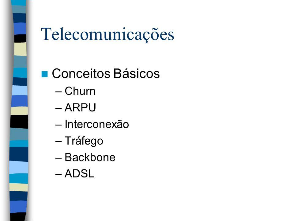 Telecomunicações Conceitos Básicos –Churn –ARPU –Interconexão –Tráfego –Backbone –ADSL