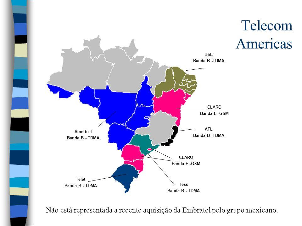 Telecom Americas Tess Banda B - TDMA Americel Banda B - TDMA ATL Banda B -TDMA Telet Banda B - TDMA BSE Banda B -TDMA CLARO Banda E -GSM CLARO Banda E
