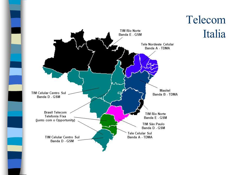Telecom Italia TIM Celular Centro Sul Banda D - GSM TIM Rio Norte Banda E - GSM Tele Nordeste Celular Banda A - TDMA Maxitel Banda B - TDMA Tele Celul