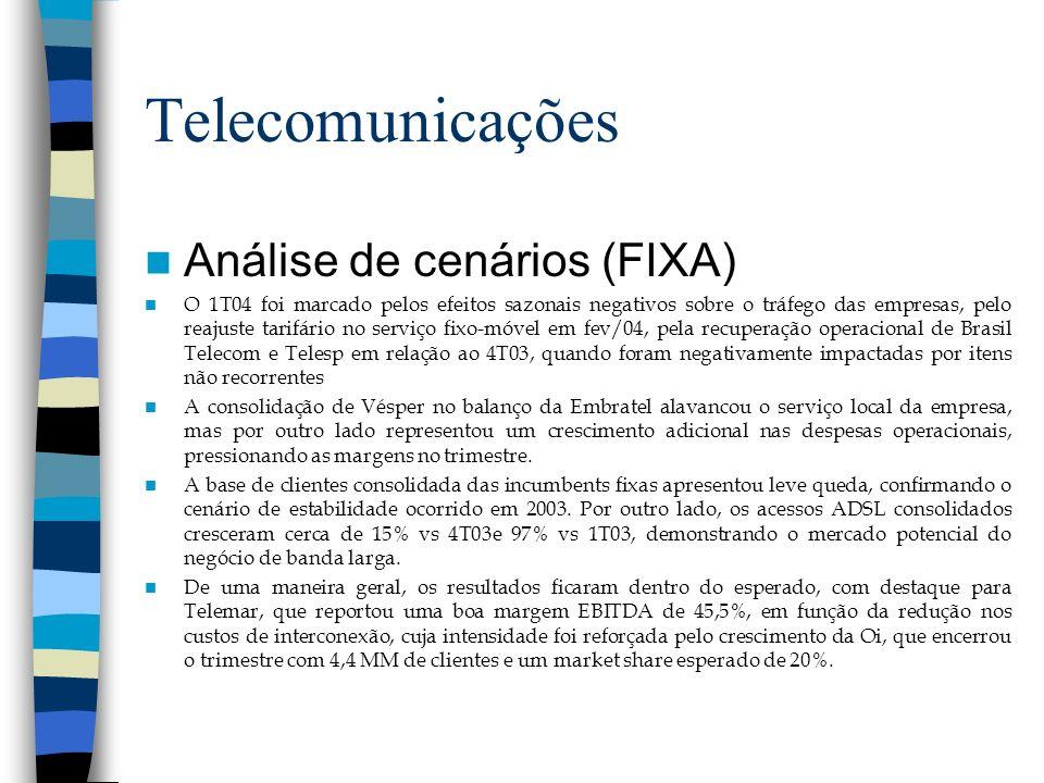 Telecomunicações Análise de cenários (FIXA) O 1T04 foi marcado pelos efeitos sazonais negativos sobre o tráfego das empresas, pelo reajuste tarifário