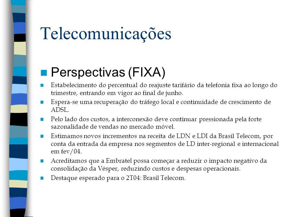 Telecomunicações Perspectivas (FIXA) Estabelecimento do percentual do reajuste tarifário da telefonia fixa ao longo do trimestre, entrando em vigor ao