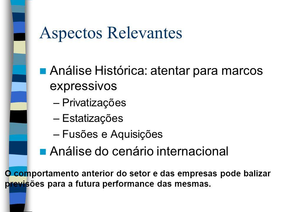 Aspectos Relevantes Análise Histórica: atentar para marcos expressivos –Privatizações –Estatizações –Fusões e Aquisições Análise do cenário internacio