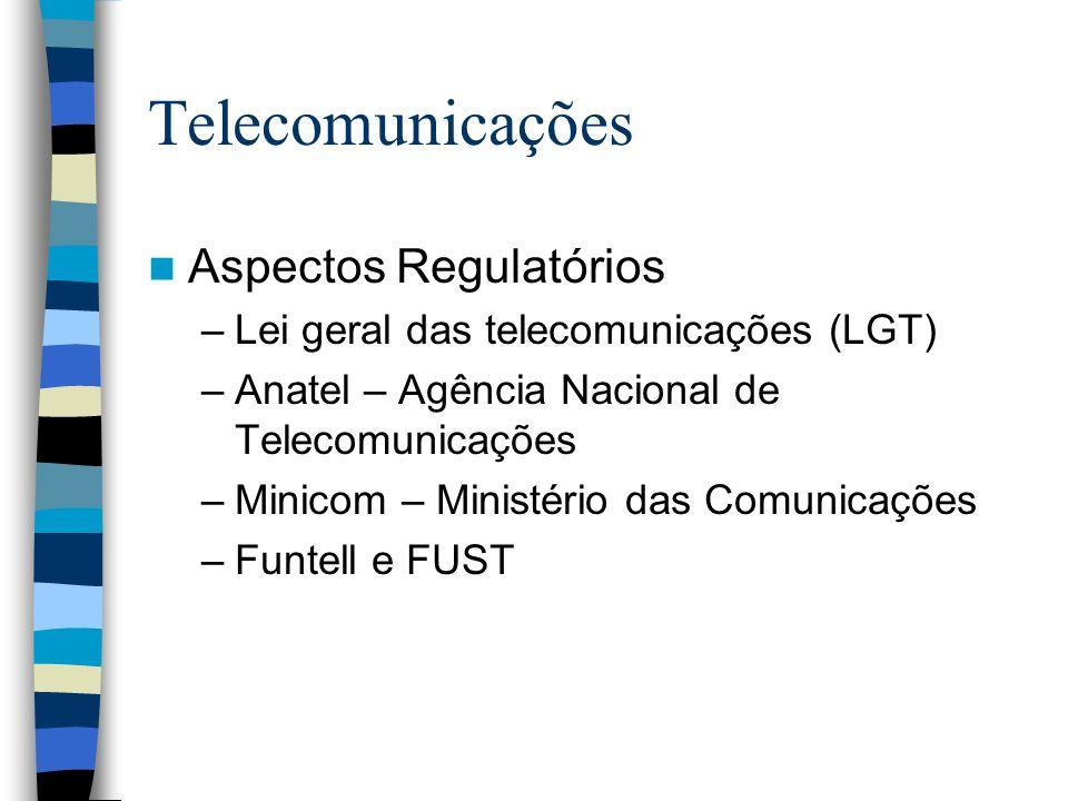 Telecomunicações Aspectos Regulatórios –Lei geral das telecomunicações (LGT) –Anatel – Agência Nacional de Telecomunicações –Minicom – Ministério das