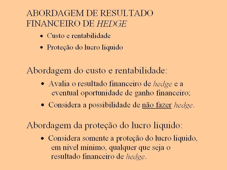 Resultado financeiro (RF) de alternativas de hedge (em R$ mil) (considera somente os resultados financeiros de hedge) Abordagem do custo e rentabilidade (1) Critério: menor custo máximo: collar menor custo máximo = R$ 341 mil custo constante de R$ 341 mil na faixa de risco
