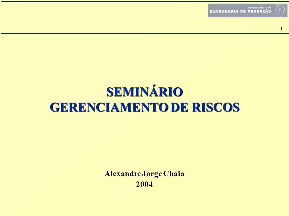 1 SEMINÁRIO GERENCIAMENTO DE RISCOS Alexandre Jorge Chaia 2004